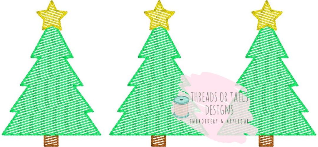 Christmas Tree Trio With Star Sketch Design